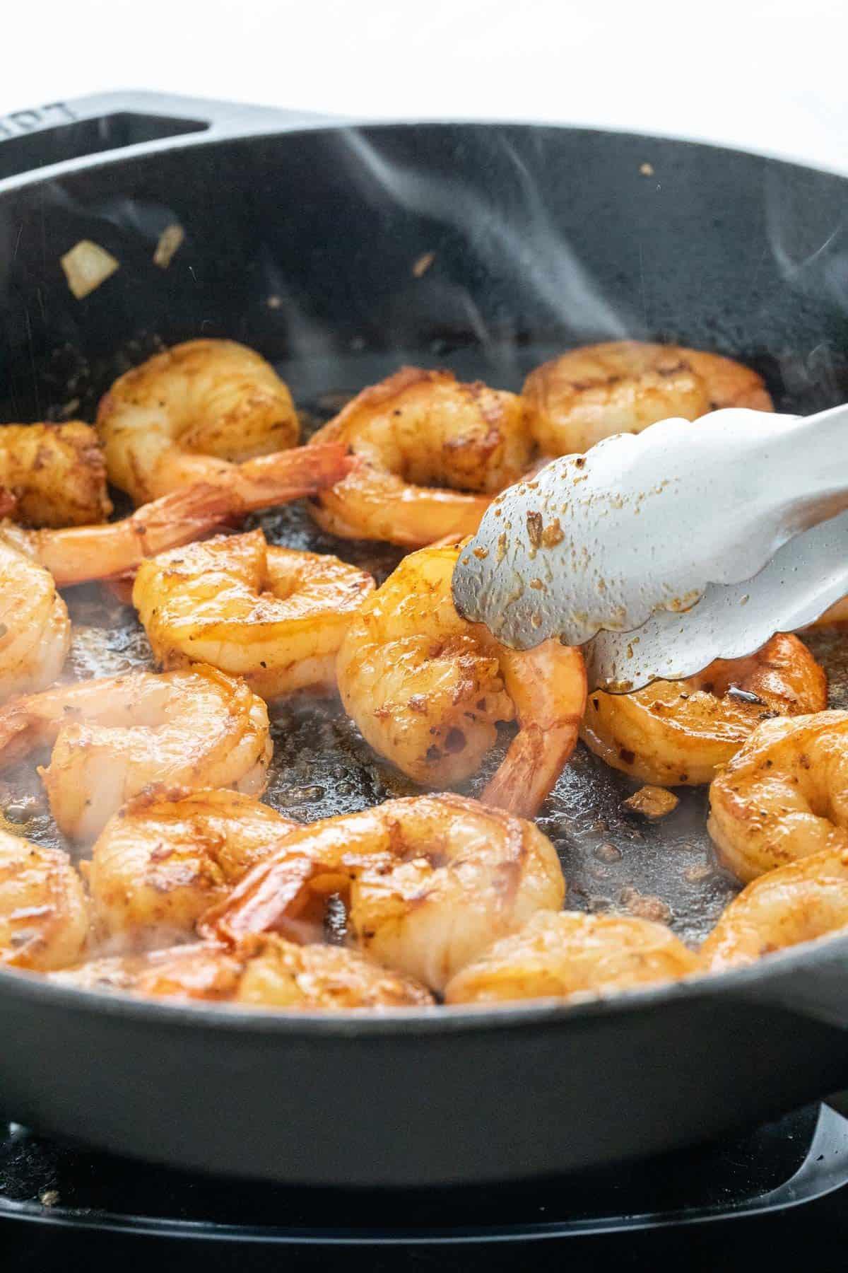 seared pieces of shrimp