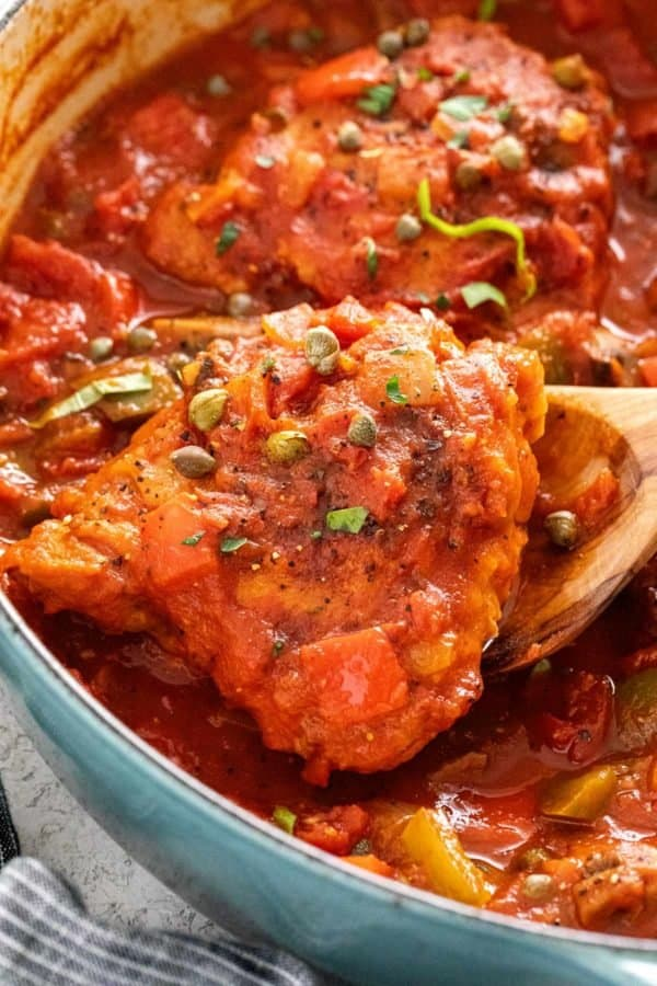 Chicken Cacciatore in a large pot