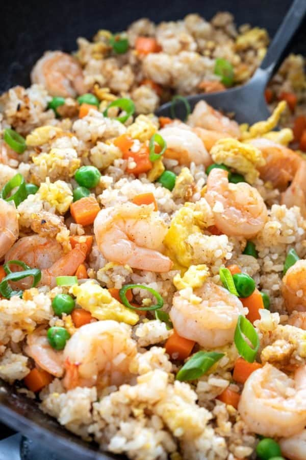 shrimp fried rice garnished with green onions