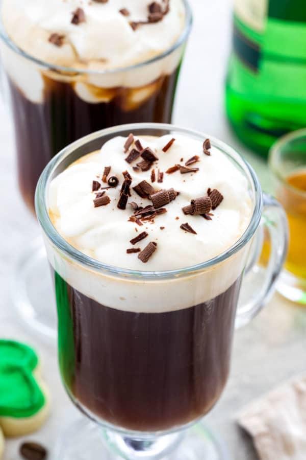 Irish coffee with cream and chocolate shavings on top