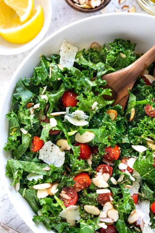 Bowl of kale salad with lemon dressing