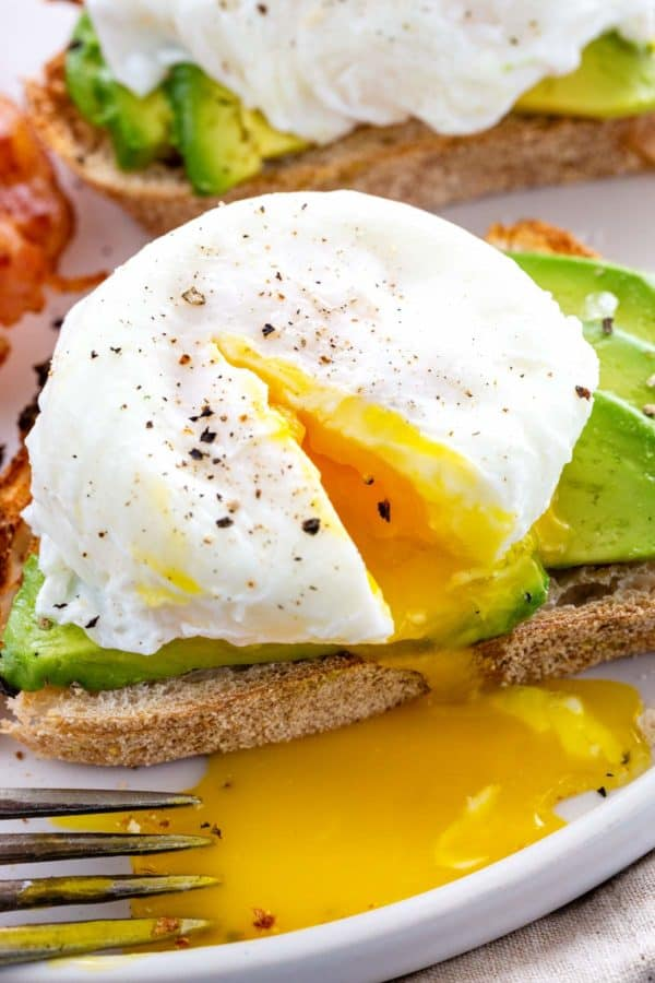 poached egg with yolk oozing out