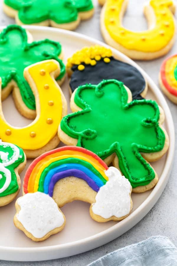 rainbow, shamrock, and horse-shoe cookies