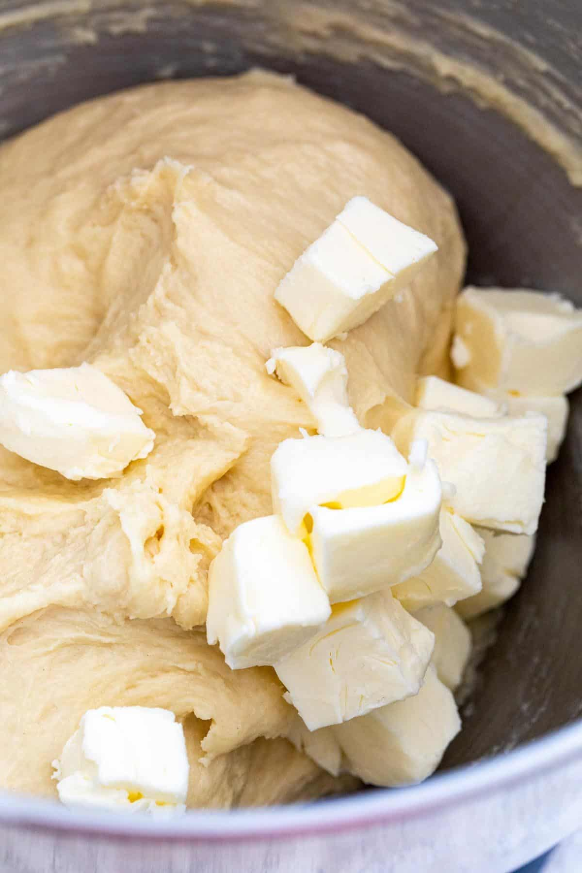 butter pieces and dough