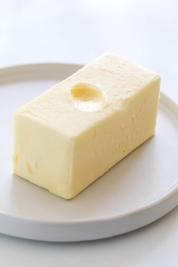 stick of butter on a plate