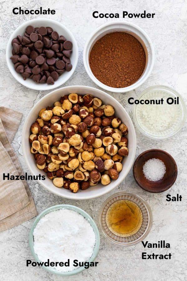 Ingredient portions to make nutella