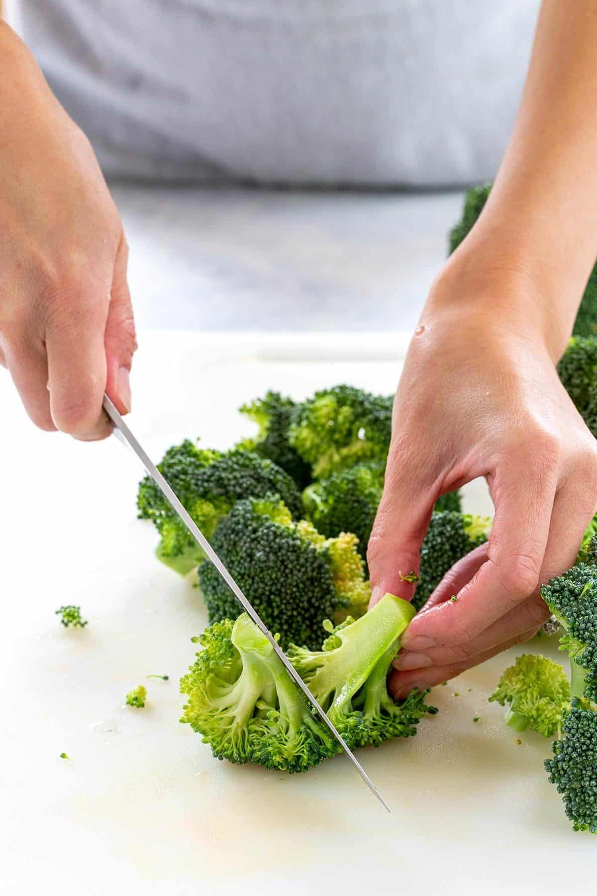 breaking down a head of broccoli
