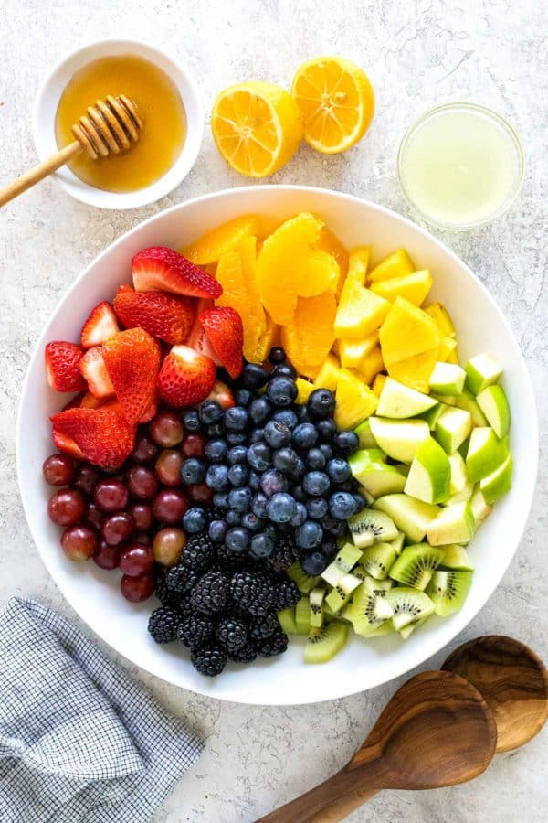 bowl of fruit before being mixed together