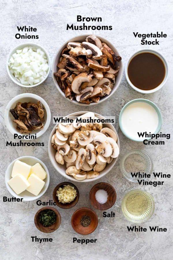 ingredients to make a mushroom soup