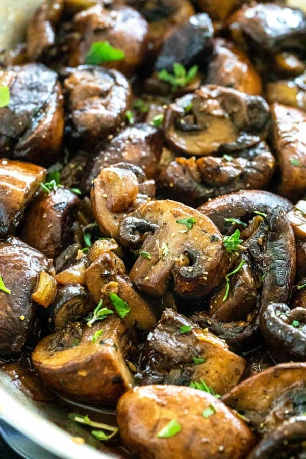 sauteed mushrooms in a pan