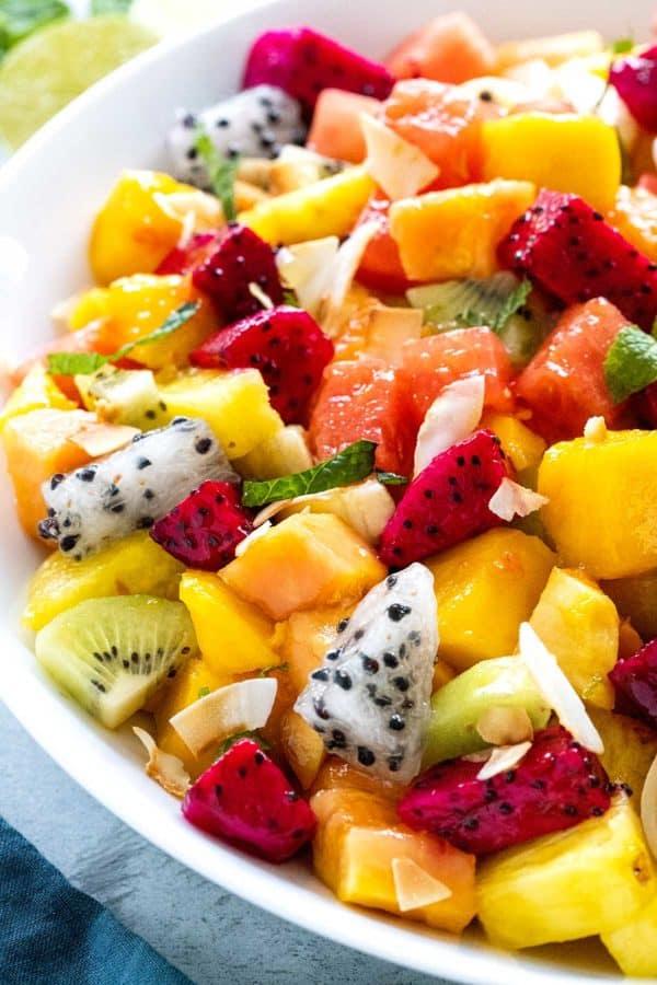 tropical fruit salad with dragon fruit, mango, kiwi and more
