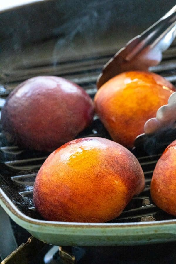 searing peaches in a grill pan