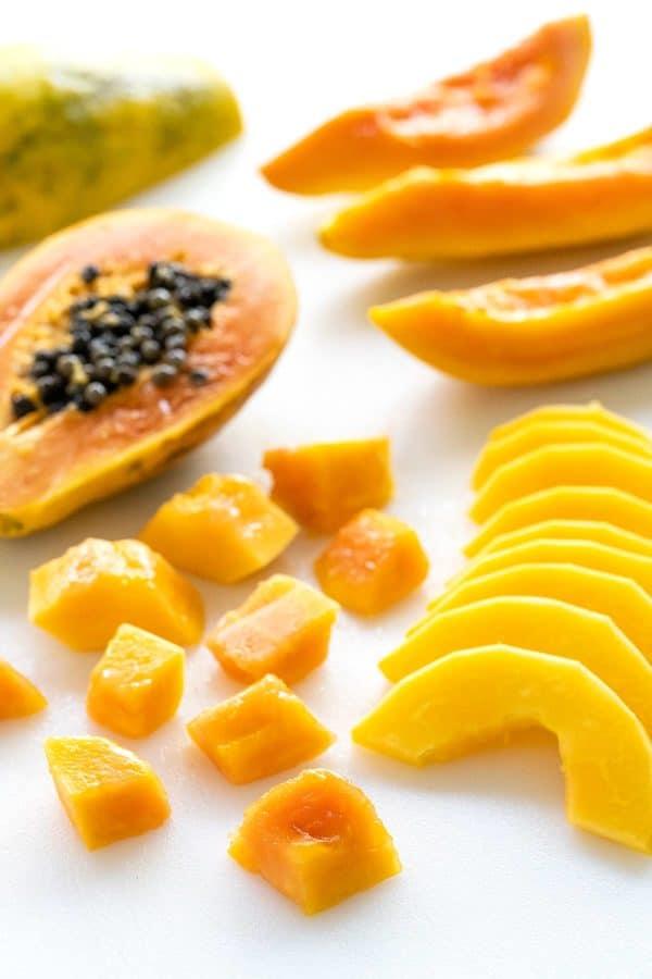 papaya cut into different shapes