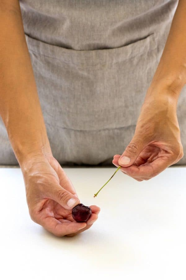 removing the stem from a cherry