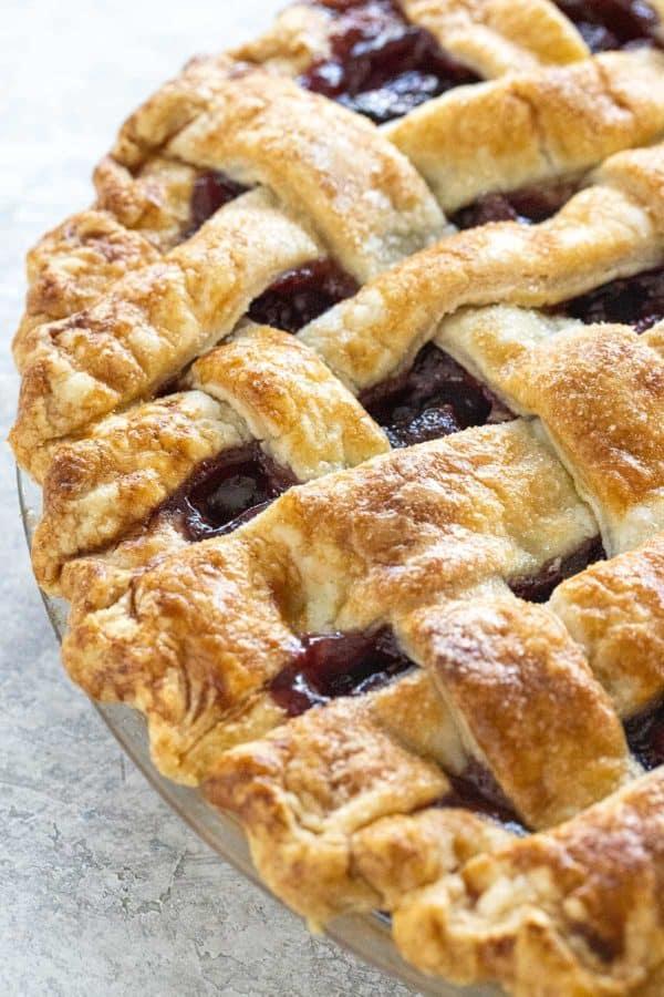 cherry pie with golden brown lattice crust