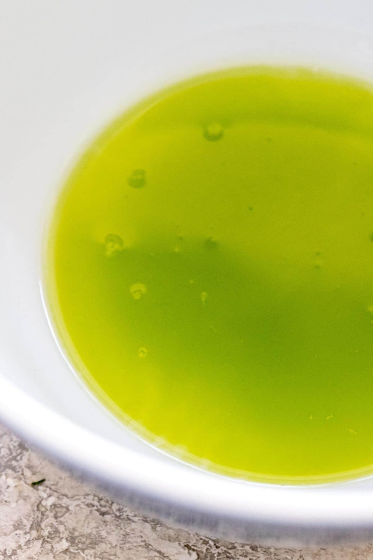 green liquid in a bowl