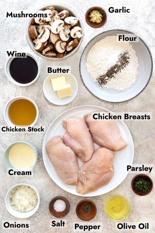 ingredients to make a chicken dinner