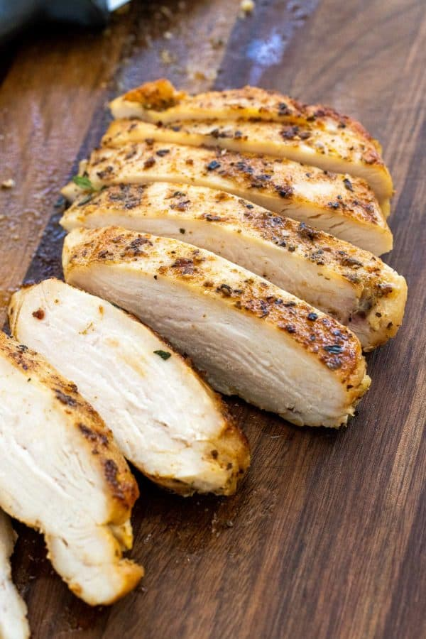 chicken breasts cut into several slices