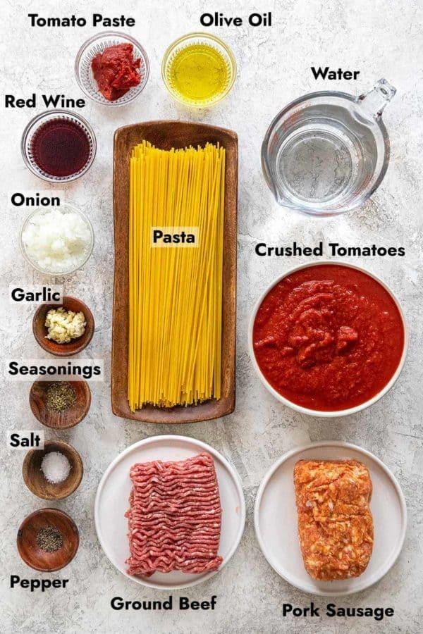 ingredients to instant pot spaghetti